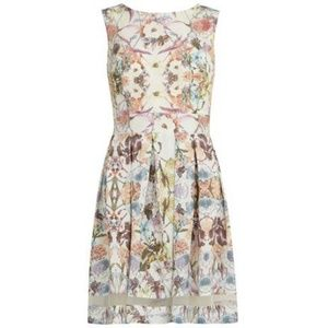 Dorothy Perkins Floral Dress w/ Sheer + Bow Detail